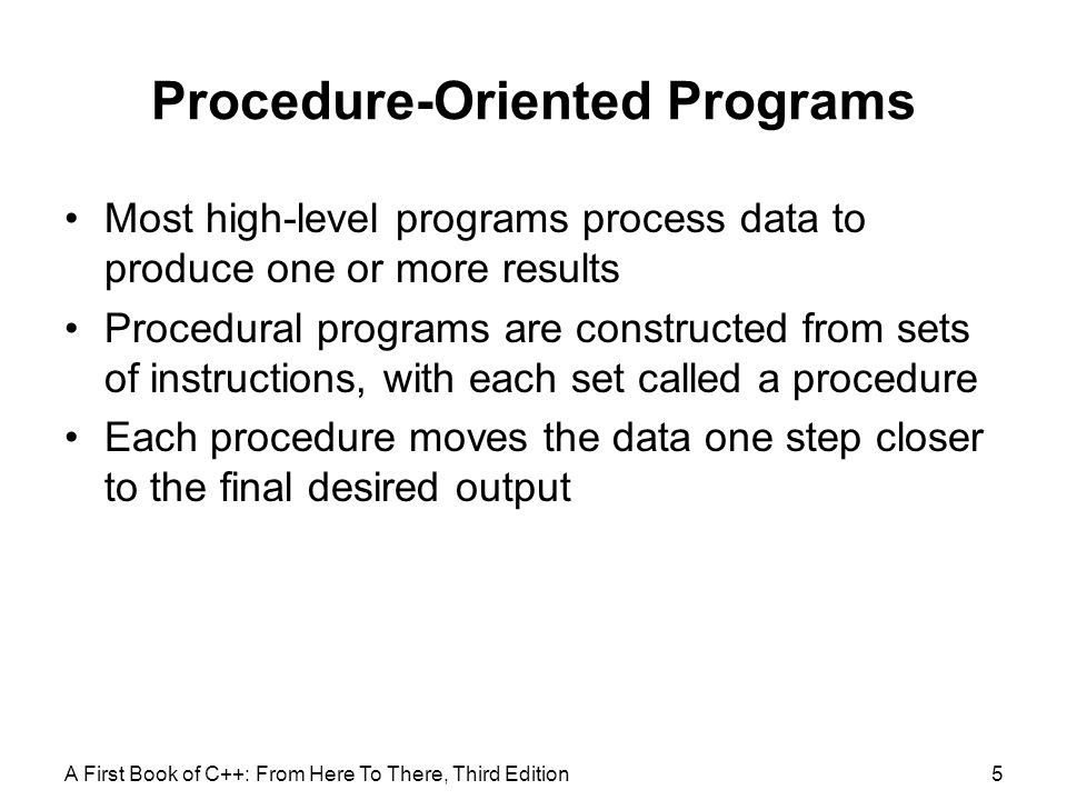 Procedure-Oriented Programs
