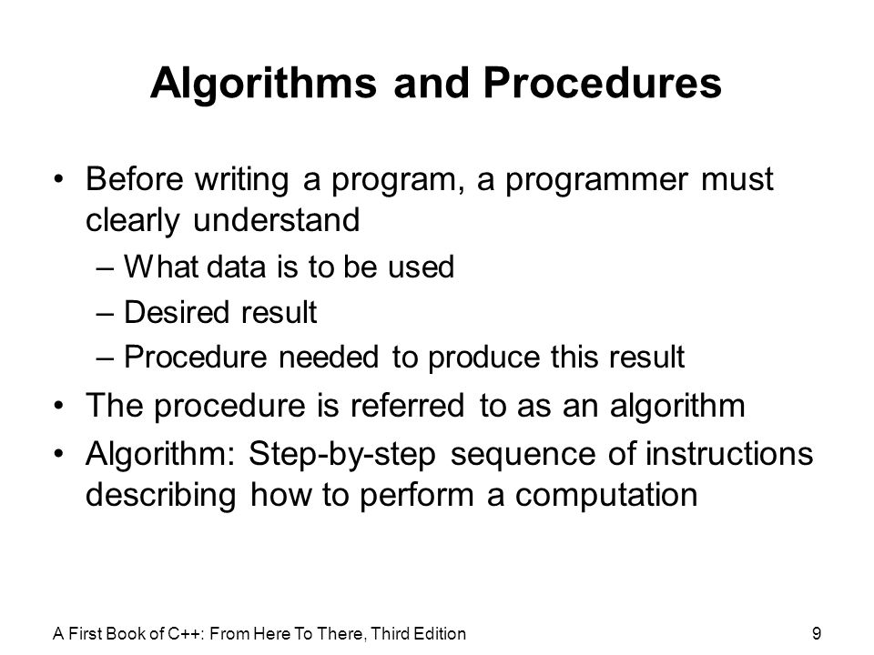 Algorithms and Procedures