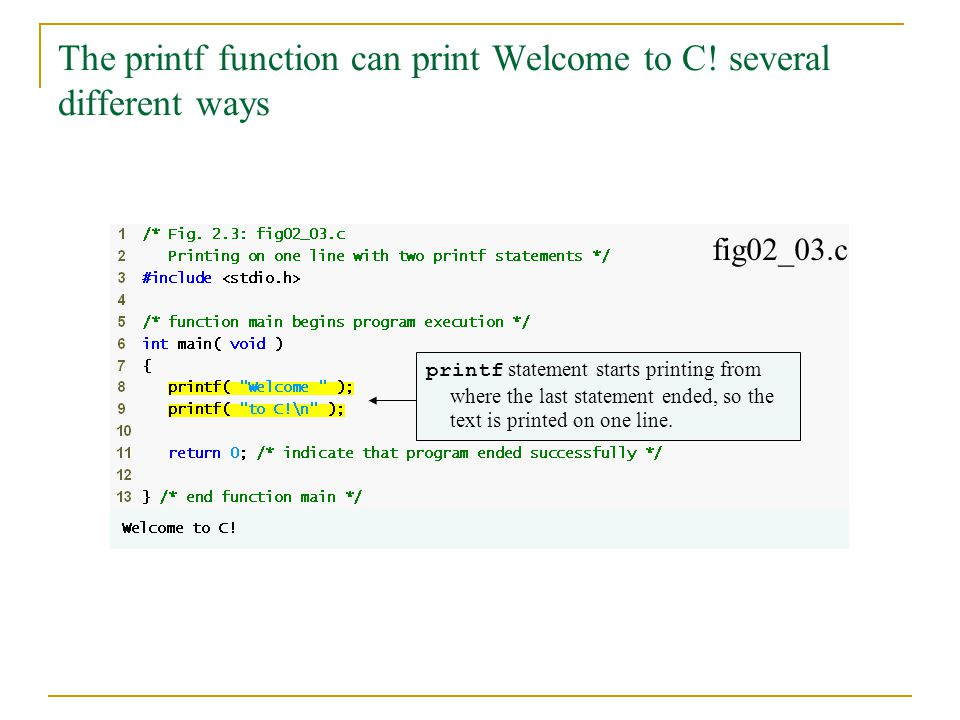 The printf function can print Welcome to C! several different ways