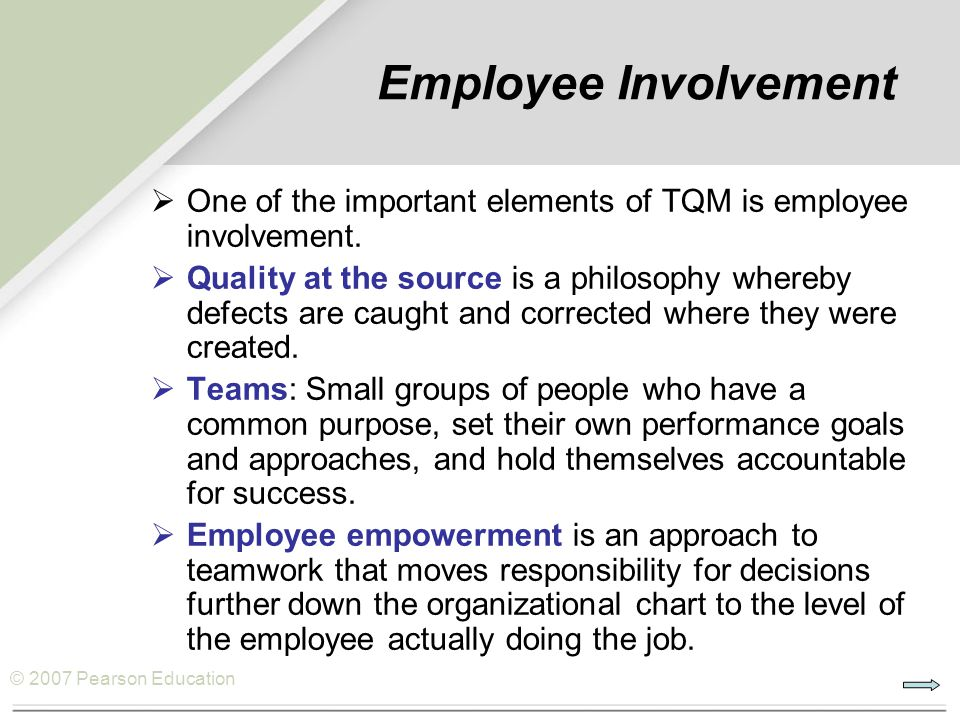 total quality management and employees empowerment The effect of total quality management  employees' job satisfaction for smes within klang  management leadership, employee empowerment.