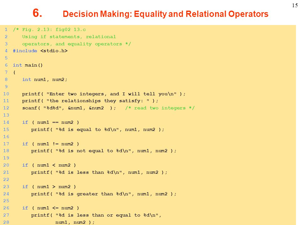 6. Decision Making: Equality and Relational Operators