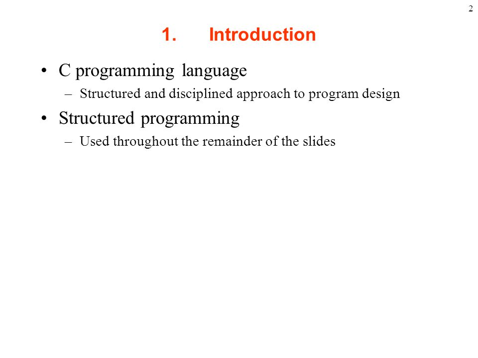 C programming language Structured programming
