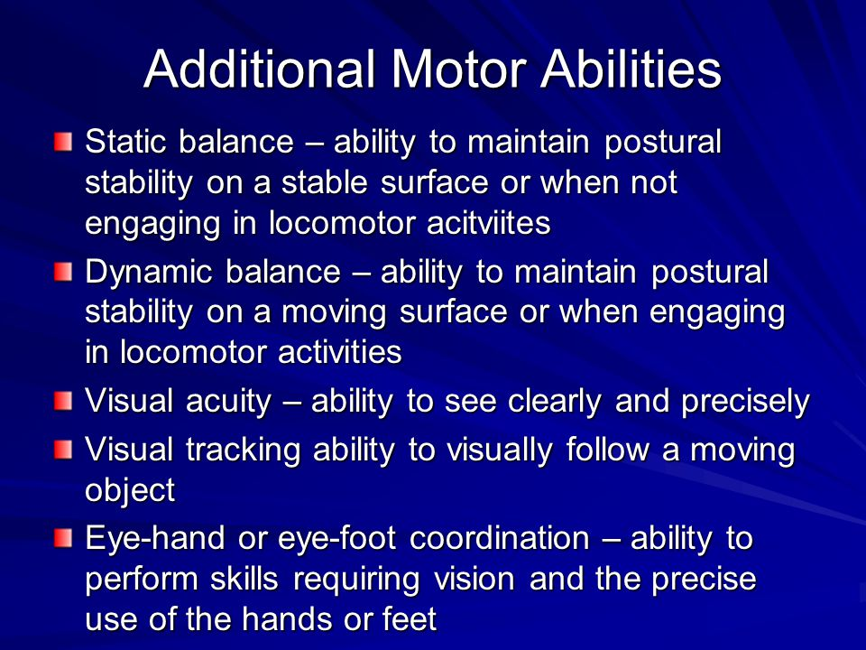 an analysis of motor abilities Background & study aim: level of motor abilities is the foundation of all   analysis of the reliability of selected tests of battery for advanced.