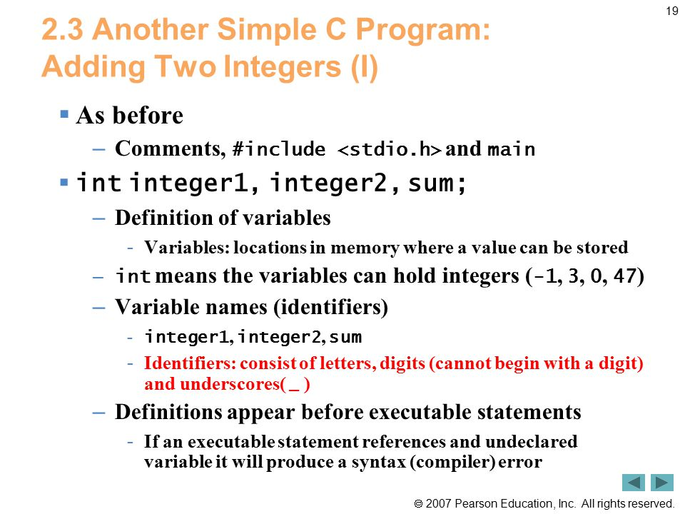 2.3 Another Simple C Program: Adding Two Integers (I)