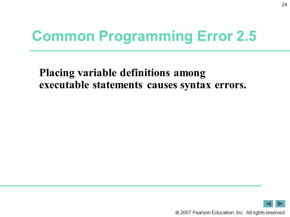 Common Programming Error 2.5