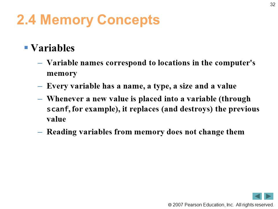 2.4 Memory Concepts Variables