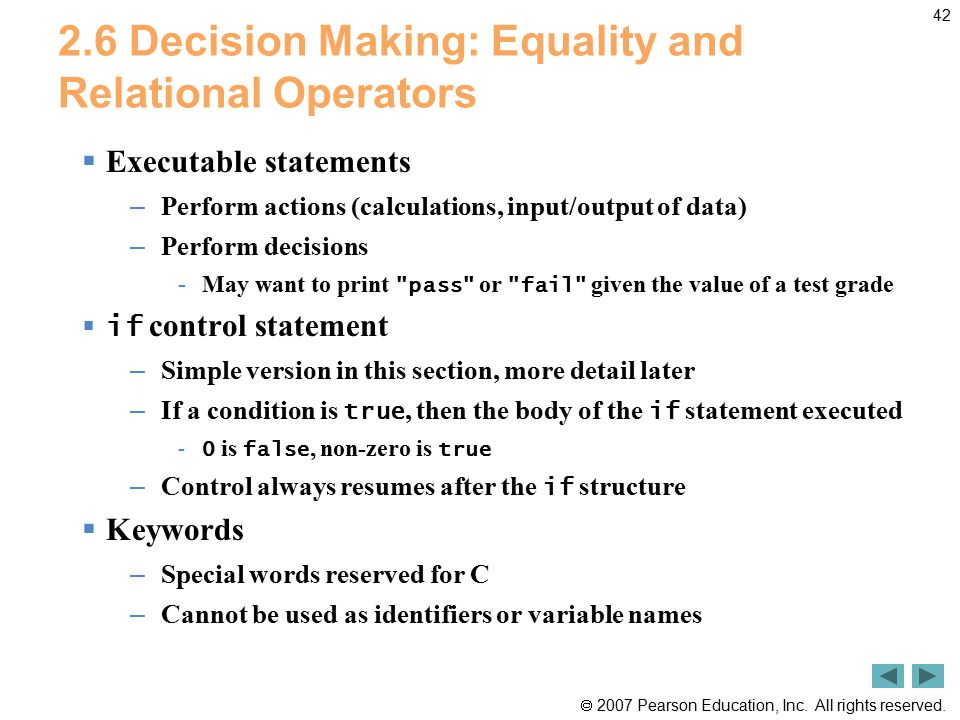 2.6 Decision Making: Equality and Relational Operators
