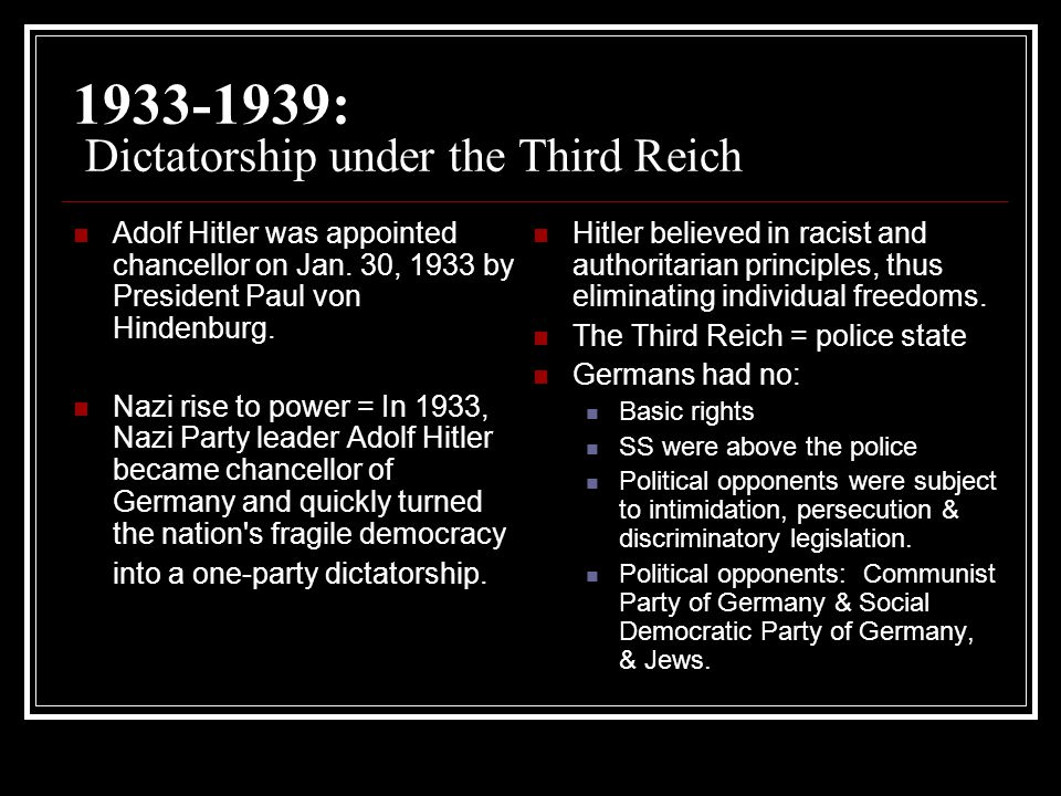 an analysis of nazi states of the third reich The nazi symbiosis: human genetics and politics in the third reich [sheila faith weiss] and nuanced analysis of the special relationship between the nazi state and the german human genetics community.
