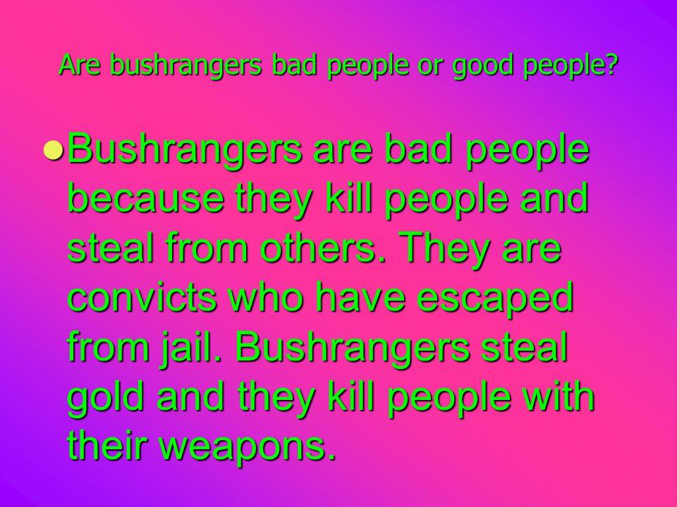 Are bushrangers bad people or good people