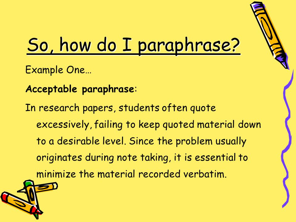 paraphrase research paper