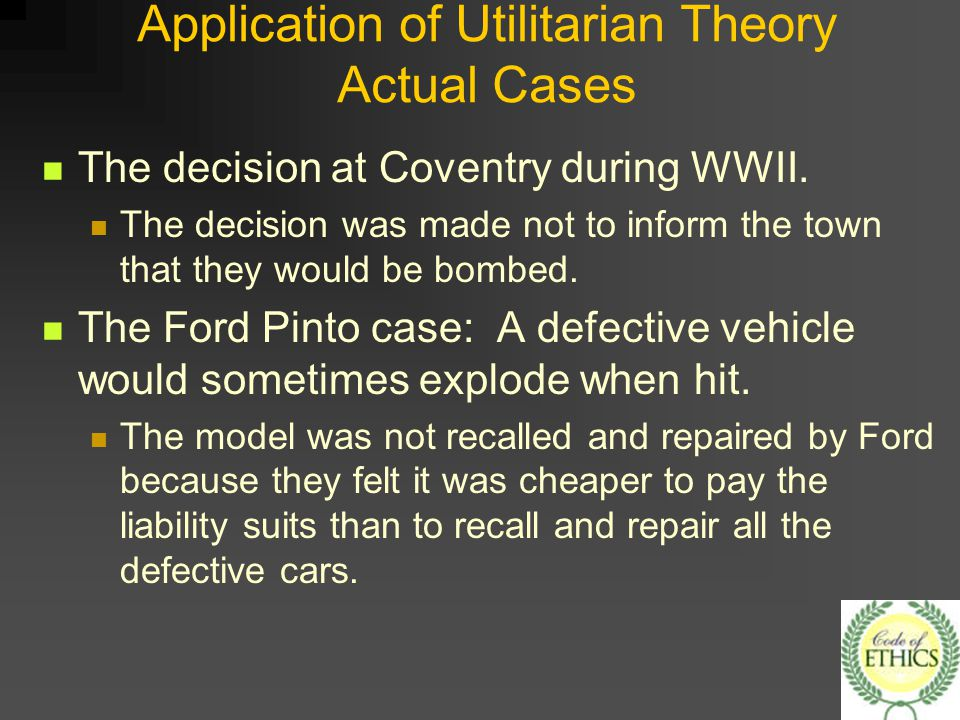 ethical theories applicable to ford pinto case philosophy essay Business ethics - the ford pinto case introduction although ford had get access to a new conceive which would decline the likelihood of the ford pinto from blowing up, the business chose not to apply the conceive, which would have cost $11 per vehicle, even though it had finished an investigation displaying that the new conceive would outcome in 180 less deaths.