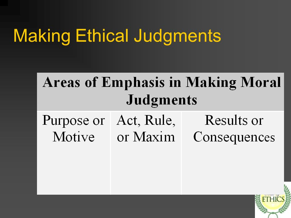 how theory of making ethical judgement The role of intent in ethical decision making: the ethical choice model  judgment of the decision maker within that context  normative ethical theories are the .