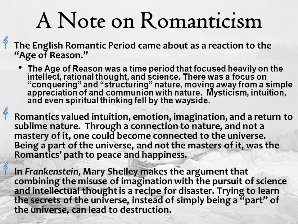appreciation of nature frankenstein Mary shelley makes full use of themes that were popular during the time she wrote frankenstein she is concerned with the use of knowledge for good or evil pur.