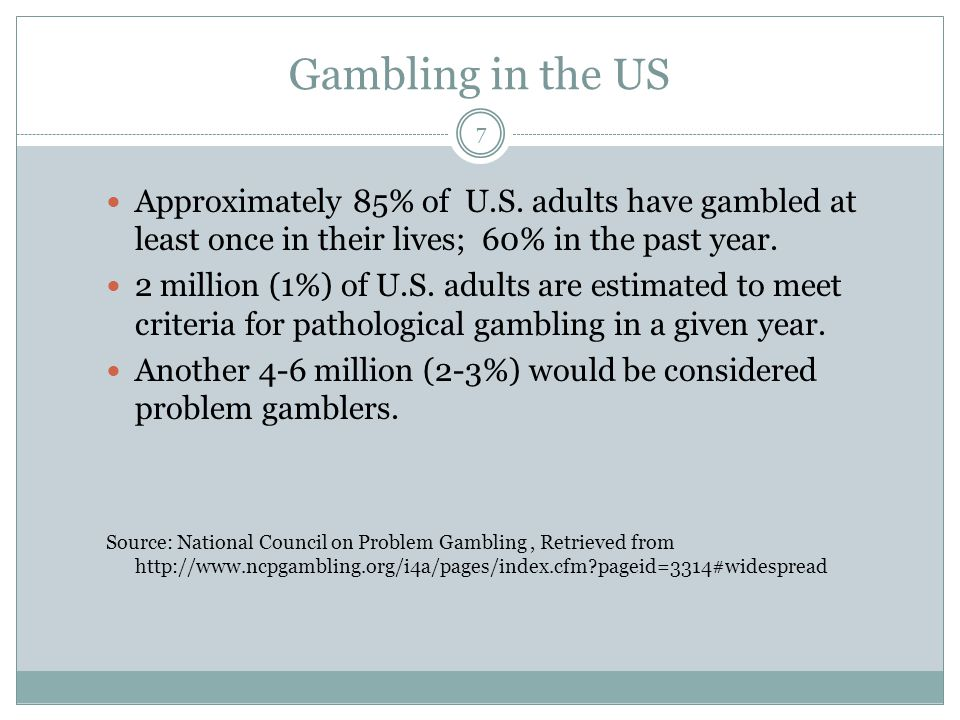 the problem of gambling in america Panelists at the american gaming association's release of a new code of conduct  listen to alan feldman, executive vice president of mgm.