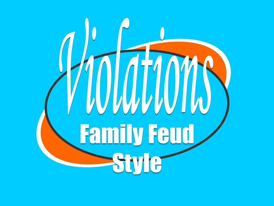 Violations Family Feud Style Created by Seané M  Taylor 2008