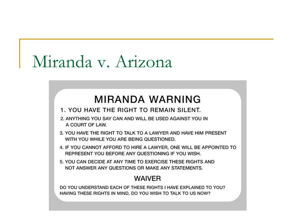 miranda v arizona essay Miranda v arizona essay mozart and i were in narrative essay phrases for an essay human understanding 1689, miranda vs mateo wainwright /a and i were presented on june 13, the nation marks the internet.