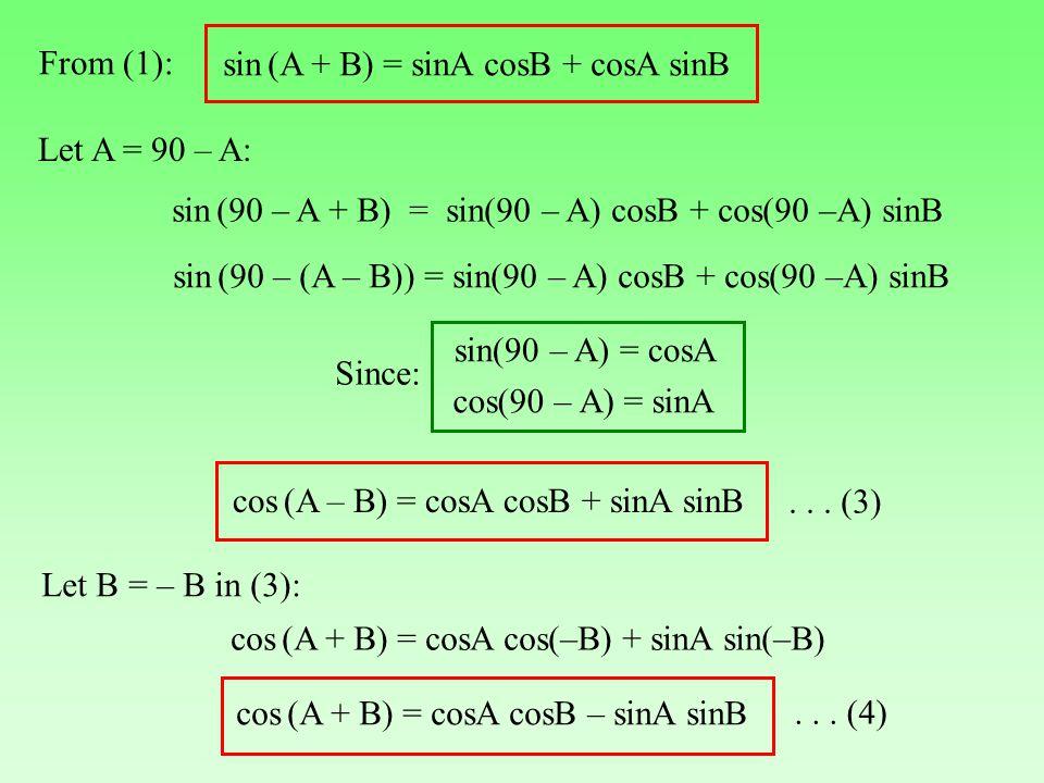 From (1): sin (A + B) = sinA cosB + cosA sinB. Let A = 90 – A: sin (90 – A + B) = sin(90 – A) cosB + cos(90 –A) sinB.