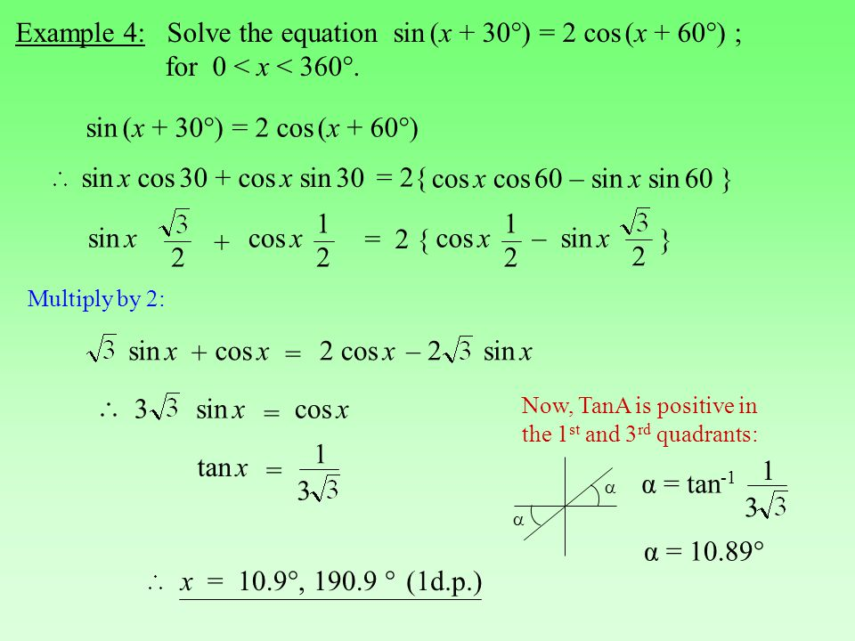 Example 4: Solve the equation sin (x + 30°) = 2 cos (x + 60°) ;