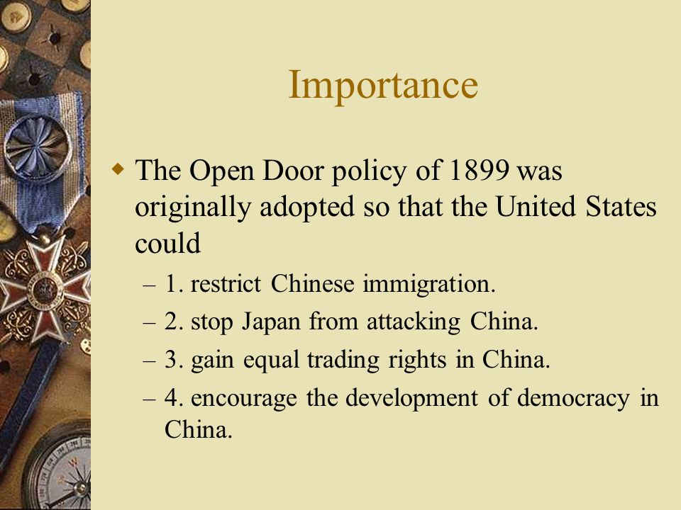 Open door policy with china essay