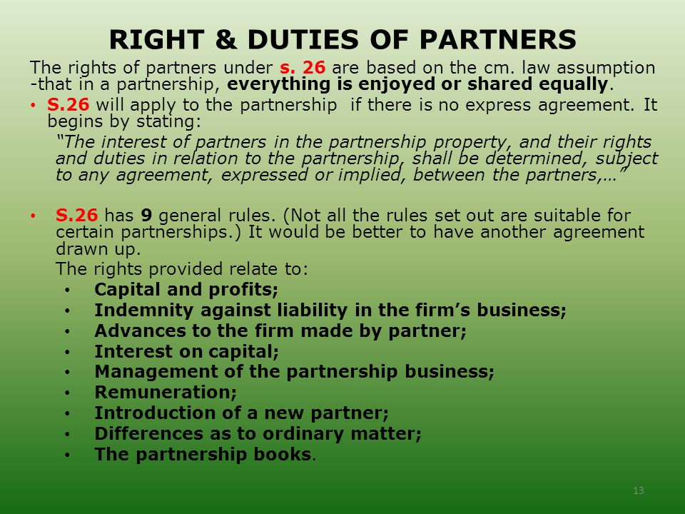 duties and rights of a partnership The rights and duties of general partners should be specified in a partnership  agreement see full legal insights at legalmatch's online law.