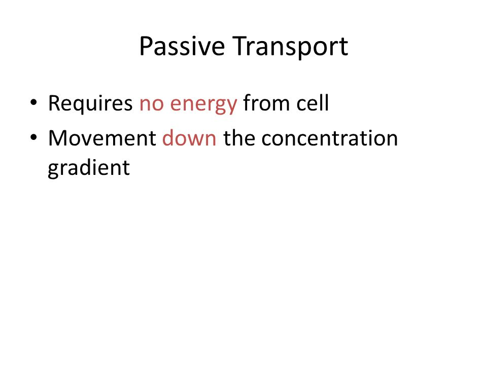 Passive Transport Requires no energy from cell