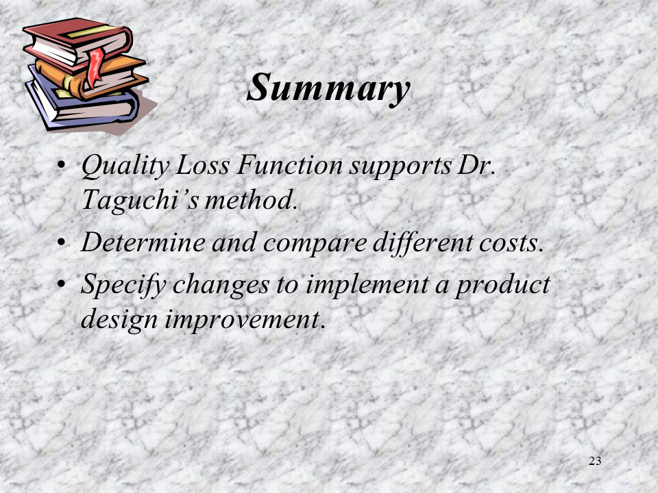 Summary Quality Loss Function supports Dr. Taguchi's method.