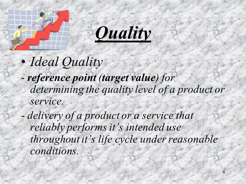 Quality Ideal Quality. - reference point (target value) for determining the quality level of a product or service.