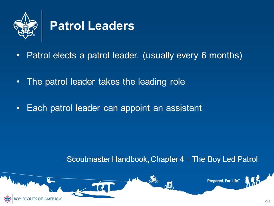 Patrol Leaders Patrol elects a patrol leader. (usually every 6 months)