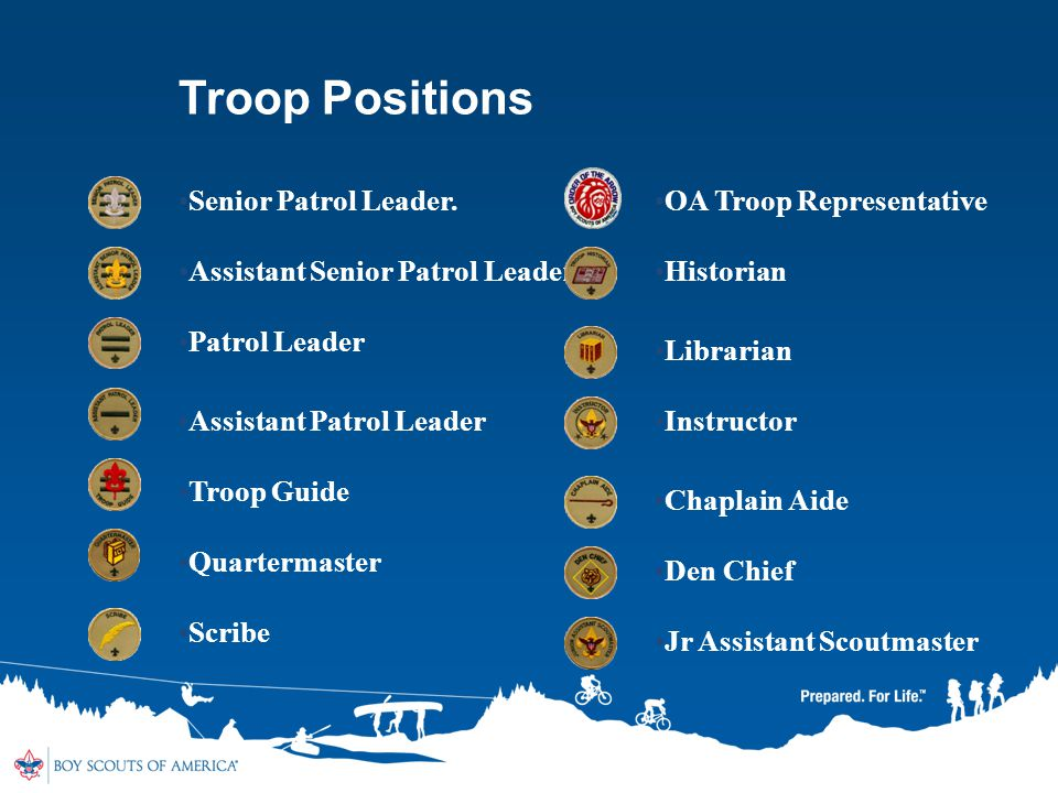 Troop Positions Senior Patrol Leader. OA Troop Representative