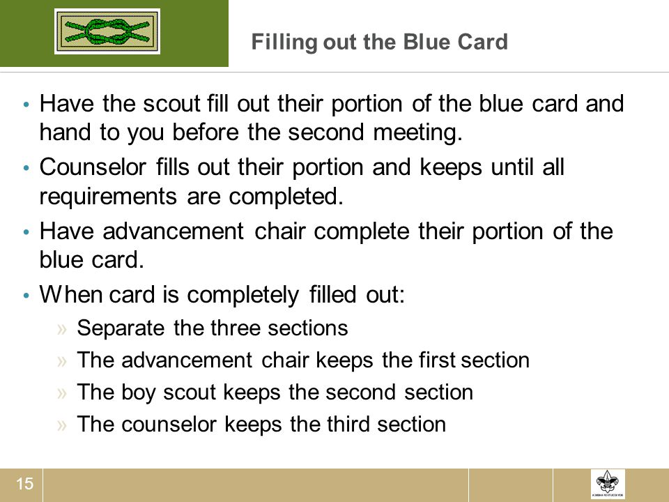 Filling out the Blue Card