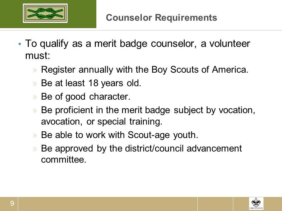 Counselor Requirements