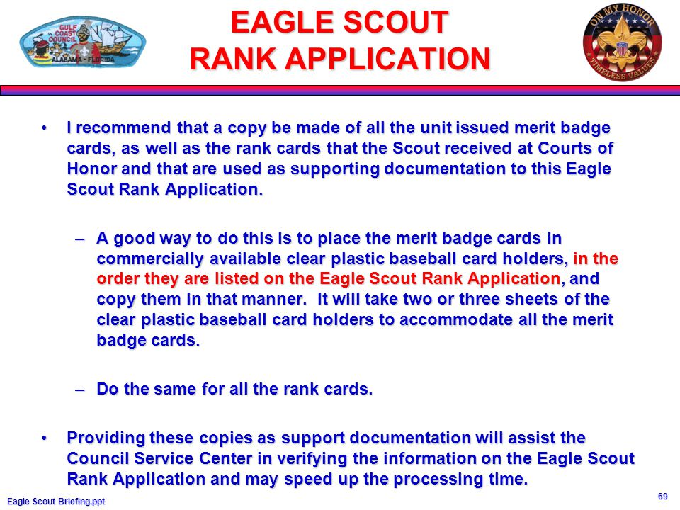 eagle scout rank application essay Eagle scout board of review documentation required to • original eagle scout rank application board of review documentation required to schedule bor.