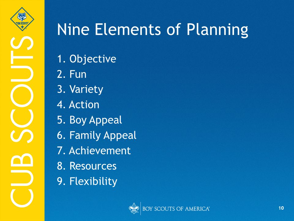 Nine Elements of Planning