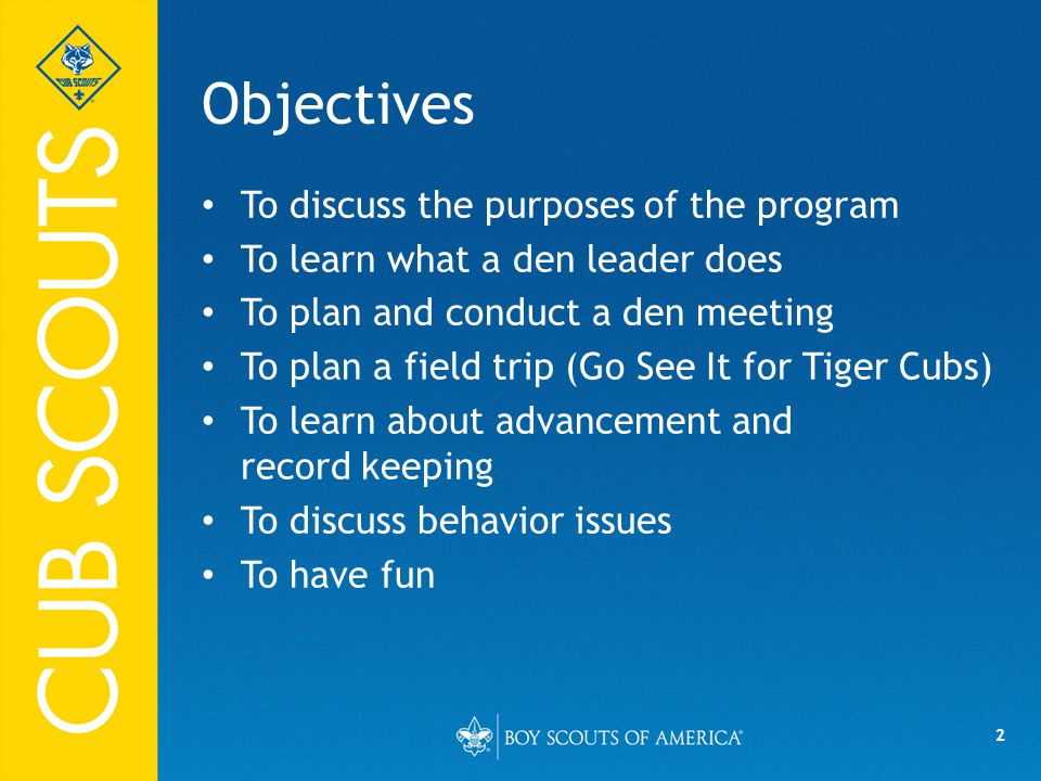 Objectives To discuss the purposes of the program