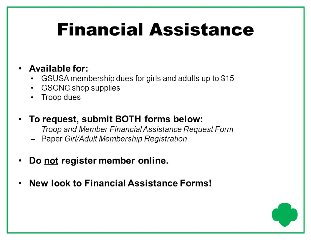 Financial Assistance Available for: