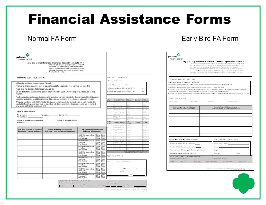 Financial Assistance Forms
