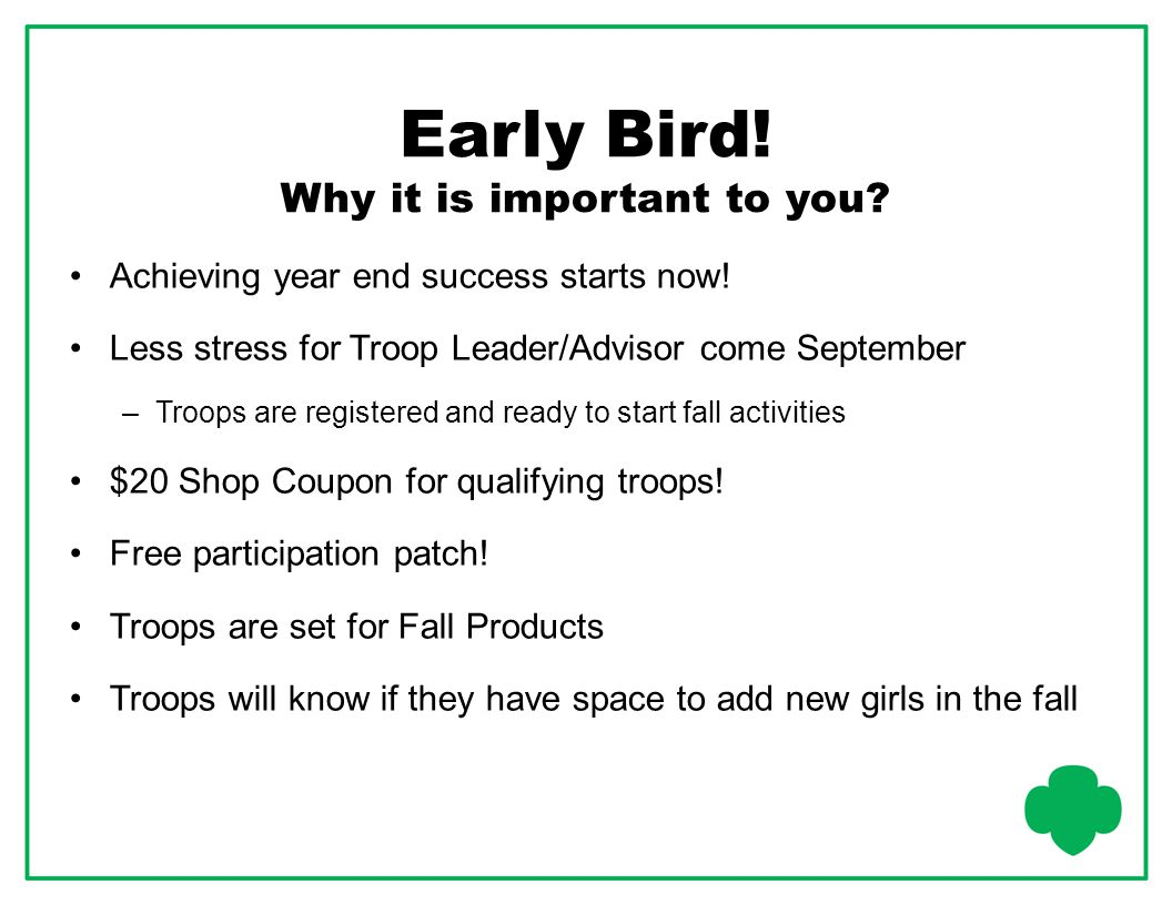 Early Bird! Why it is important to you