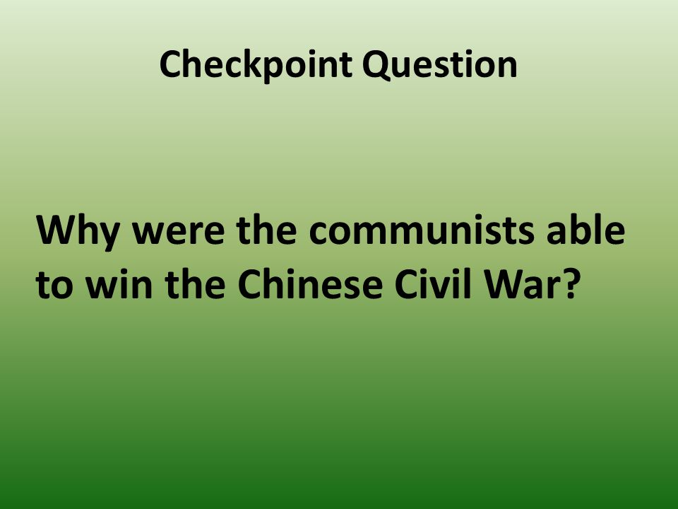 why did the communists win in 1949 essay The 'long civil war': 1912 - 1949, starting with the collapse of imperial power until   in january 1949 beiping was taken by the communists without a fight, and its   the ccp had gained the support of the peasants in order to win the civil war.