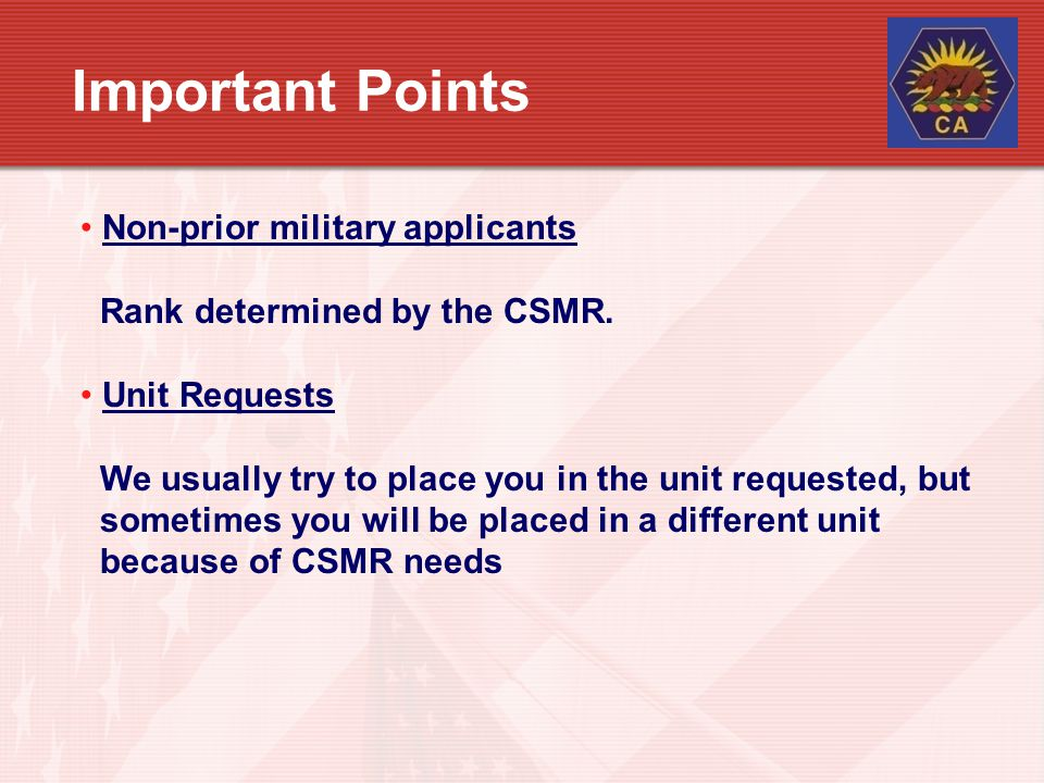 Important Points Non-prior military applicants