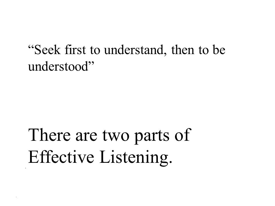 There are two parts of Effective Listening.