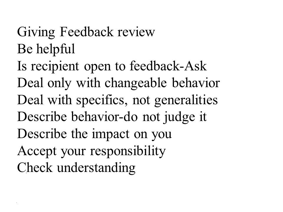 Giving Feedback review