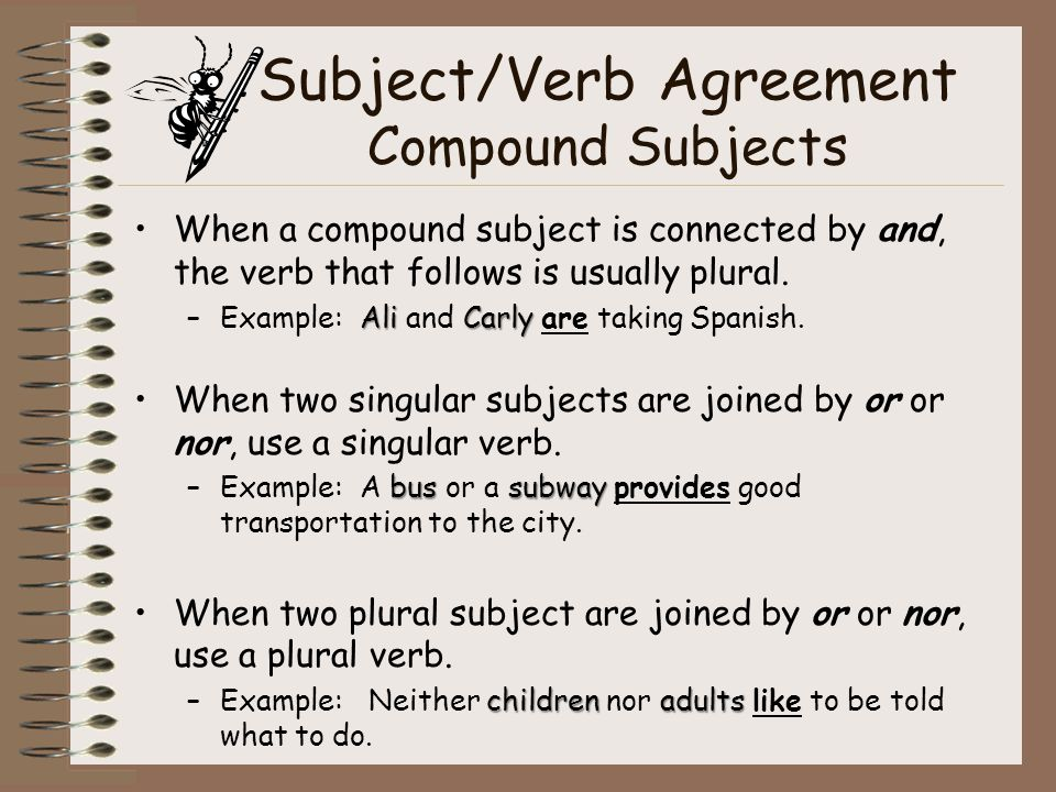 Verbs ppt video online download 23 subjectverb agreement compound subjects platinumwayz