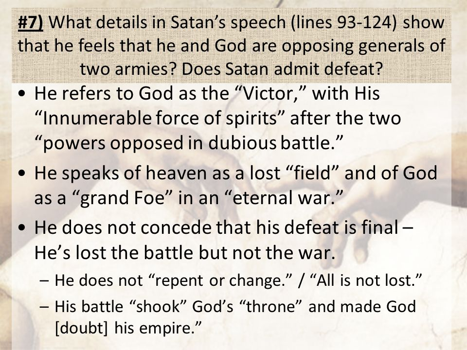 satans speeches Paradise lost paradise lost: paradise regain'd: prose: satan now in prospect of eden to first of women eve thus moving speech.
