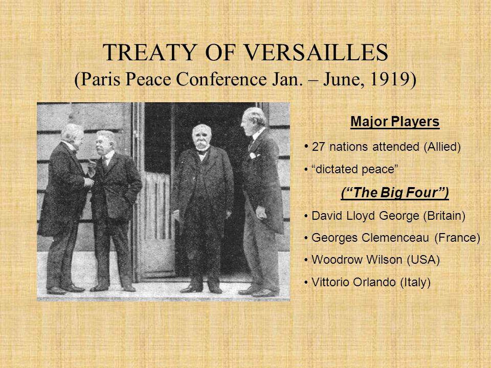 Treaty of Versailles and President Wilson, 1919 and 1921