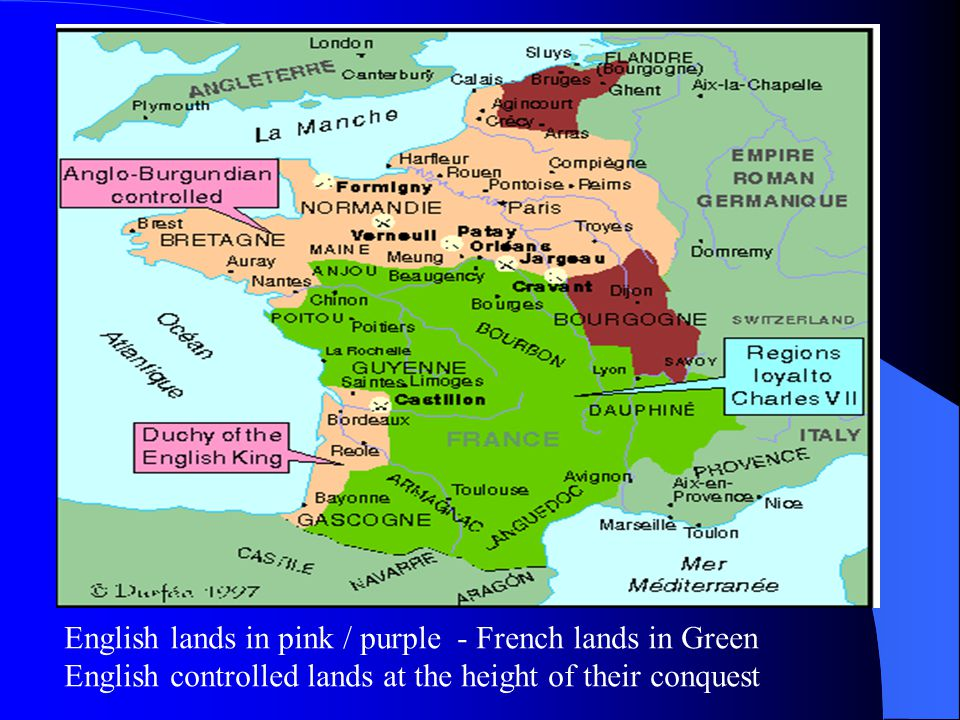 English lands in pink / purple - French lands in Green