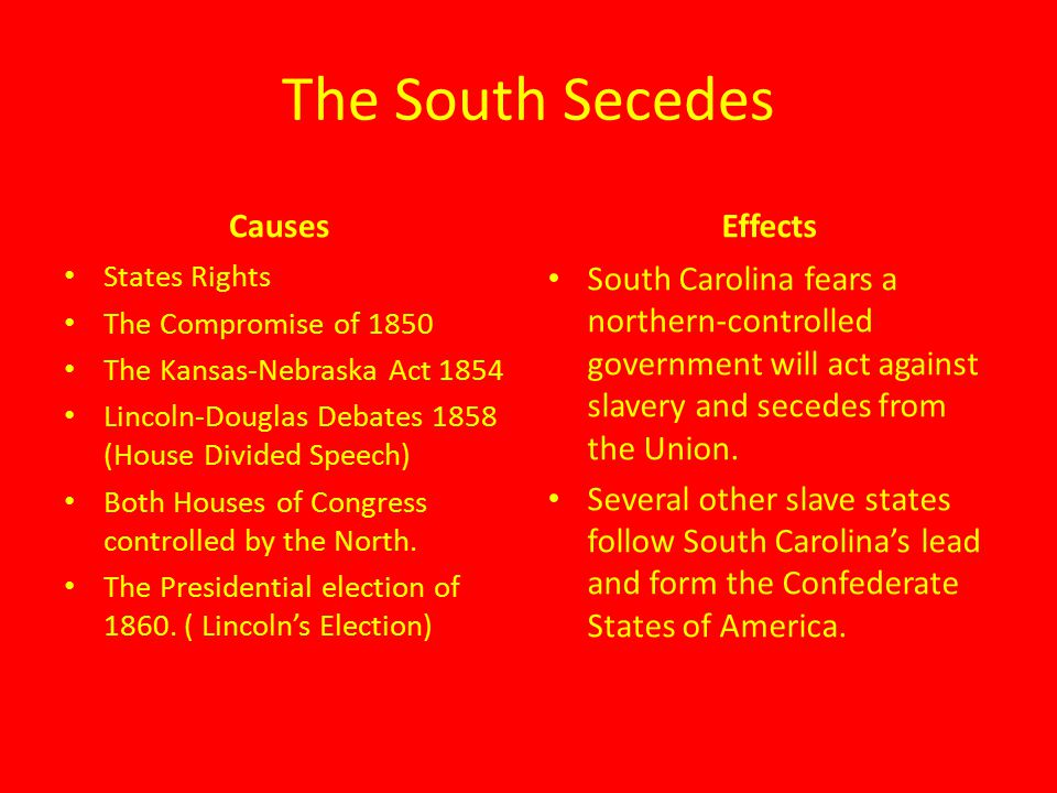 causes and effects of the civil war The causes of the american civil war essay example the american civil war of 1861-1865 was fought between the union (the northern states) and the confederates (the southern states) under the presidency of abraham lincoln.