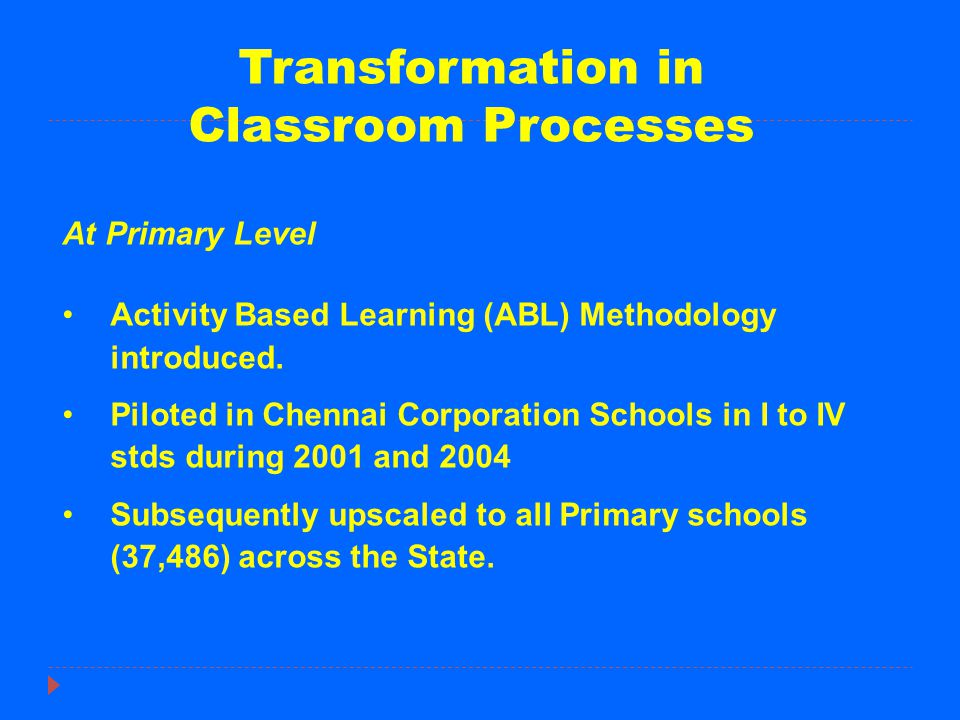 Transformation in Classroom Processes