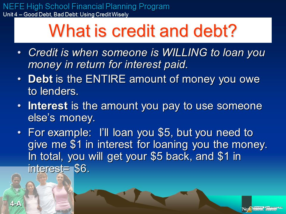 What is credit and debt Credit is when someone is WILLING to loan you money in return for interest paid.