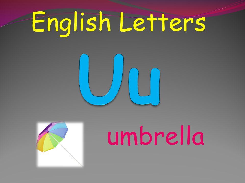 English Letters Uu umbrella