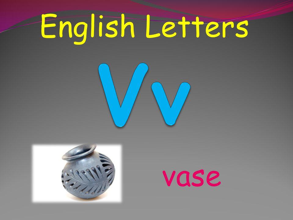 English Letters Vv vase